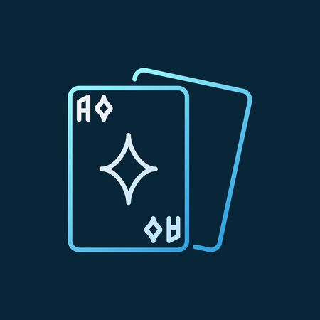 Playing cards vector colored outline icon - poker concept sign Ilustração