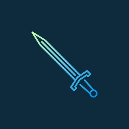 Sword vector colored icon or symbol in thin line style