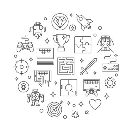 Game vector concept round outline illustration