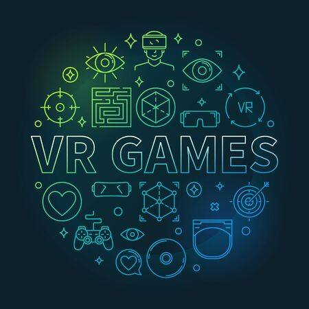 Vector VR Games round concept colorful outline illustration