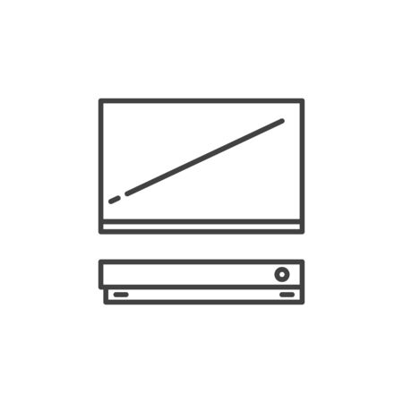 TV with Video Game Console outline vector concept icon Ilustração