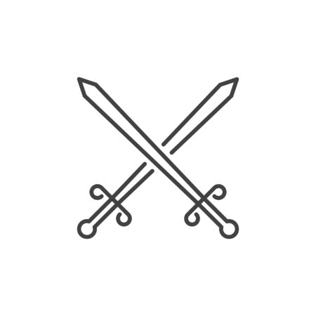 Two Crossed Swords vector icon in thin line style 일러스트