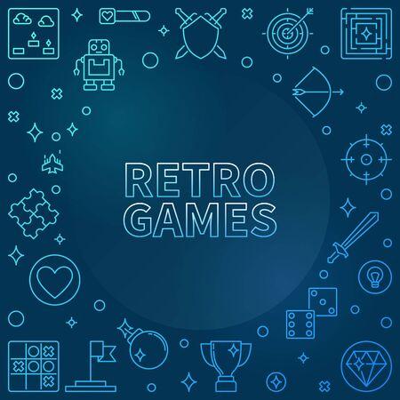 Retro Games concept blue outline frame - vector illustration