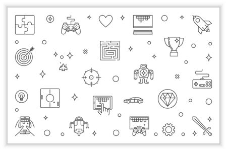 Video Games line horizontal illustration. Vector Gaming banner Ilustração