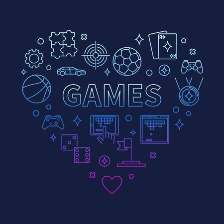 Vector Games Heart concept colorful outline illustration