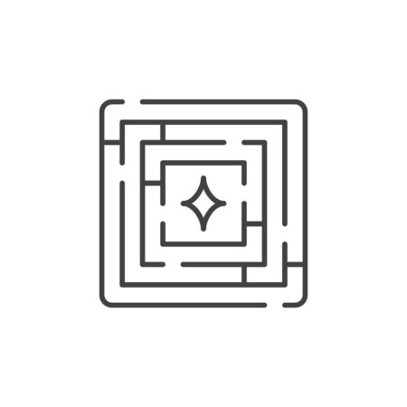 Labyrinth vector minimal linear icon. Maze concept symbol