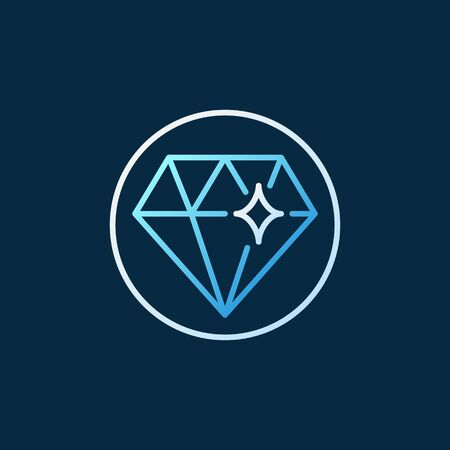Diamond in Circle vector creative colored outline icon or logo