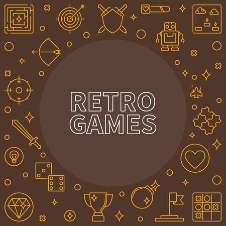 Retro Games outline frame. Vector illustration