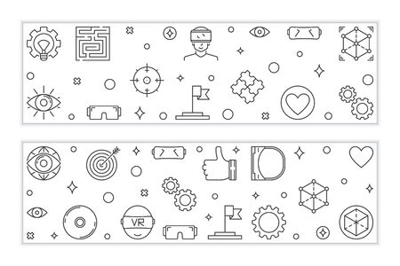Virtual reality outline banners. Vector VR linear illustration  イラスト・ベクター素材
