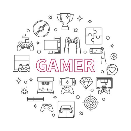 Gamer vector round concept outline minimal illustration