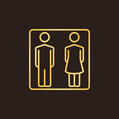 Man and Woman golden linear icon. Vector WC concept sign