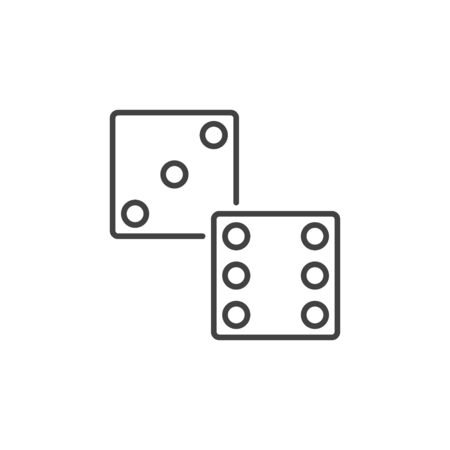 Dice vector linear icon. Dices symbol in thin line style Иллюстрация