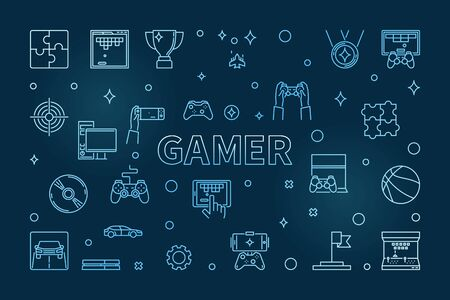 Gamer vector concept blue outline horizontal illustration