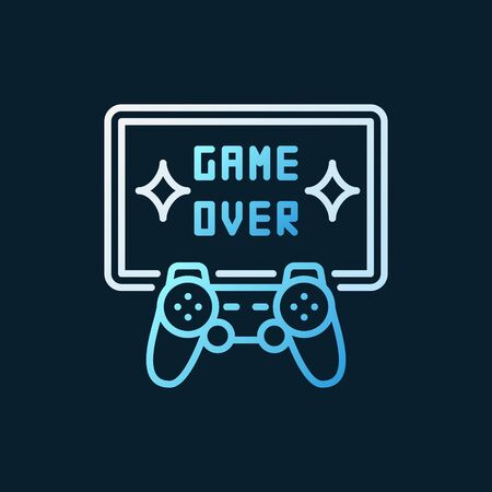 Game Over vector colorful line icon - gamepad with TV symbol