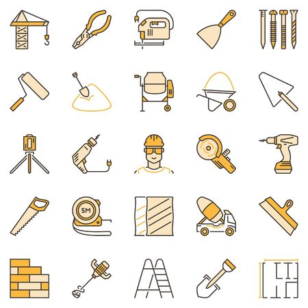 Building colored concept icons set. Construction signs