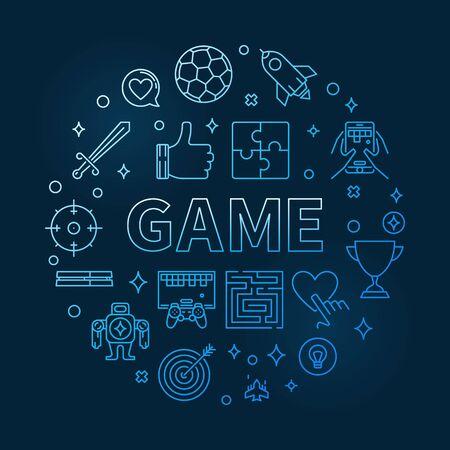 Game vector round blue outline illustration Stock Illustratie