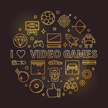 I Love Video Games vector golden round linear illustration