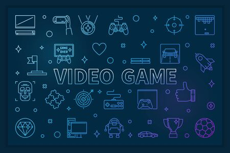 Video Game blue horizontal banner - vector linear illustration