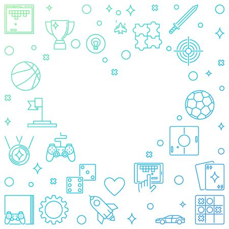 Vector colorful Frame with Game outline icons in Heart shape