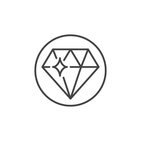Diamond in Circle vector concept icon in thin line style