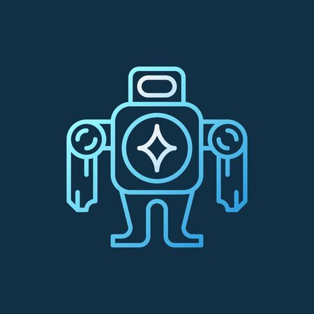 Robot vector concept colorful icon in thin line style