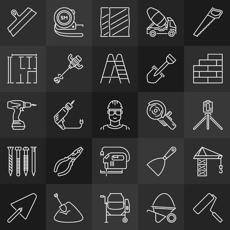 Construction minimal outline icons. Vector Building signs 向量圖像