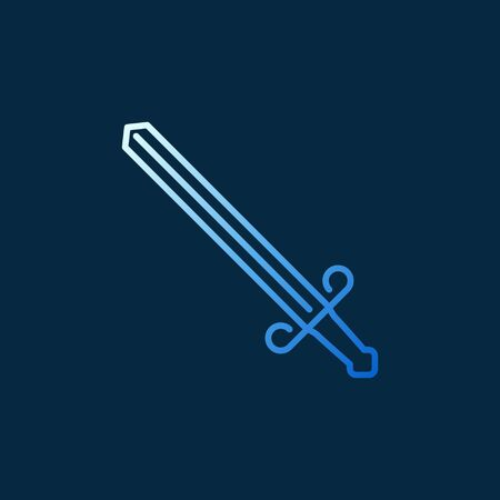 Vector Sword creative linear icon on dark background Illustration