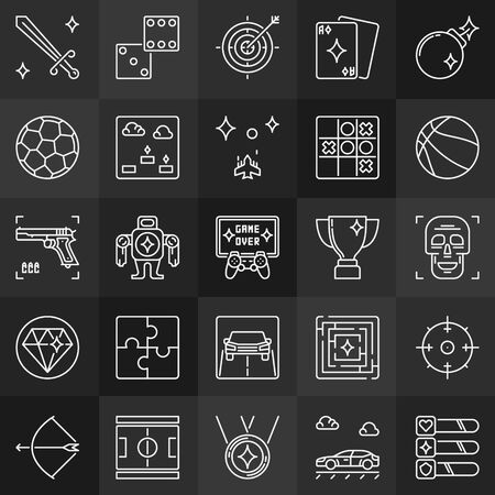 Game outline concept icons. Videos games linear signs