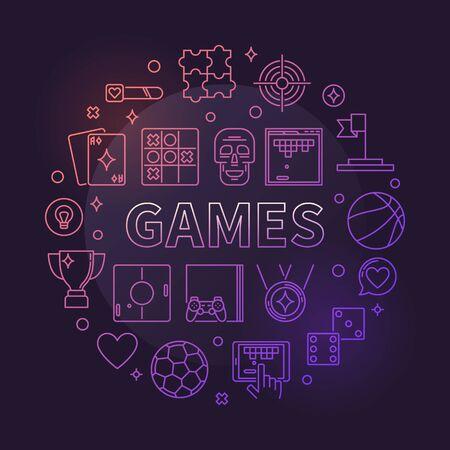 Games vector concept circular linear colorful illustration Stock Illustratie