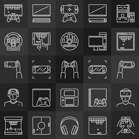 Video games linear concept icons collection on dark background