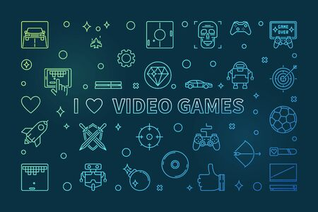 I Love Video Games colorful linear banner - vector illustration