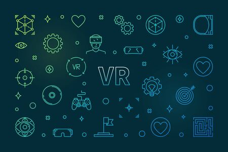 VR concept colored horizontal illustration in thin line style
