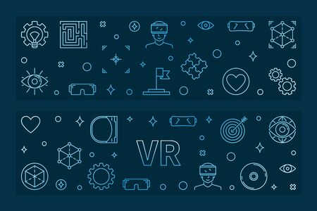 VR blue linear banners. Vector Virtual Reality illustration Illustration