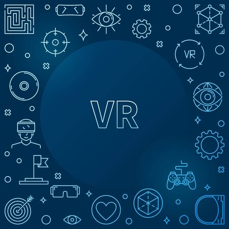 Virtual Reality or VR concept outline blue vector frame