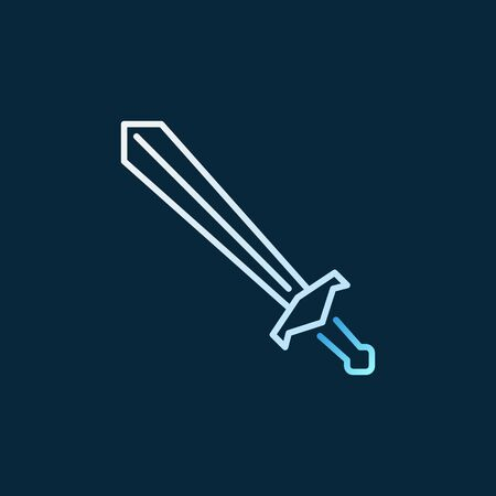 Old Sword vector colorful linear icon on dark background