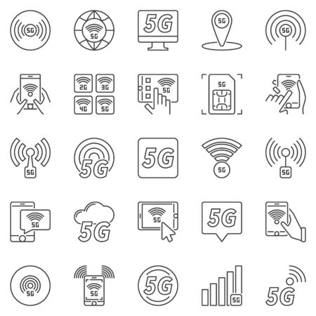 5G outline icons set. Vector 5 G network technology symbols  イラスト・ベクター素材