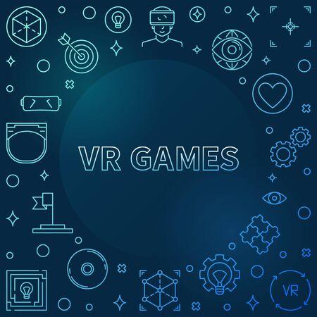 VR Games vector colorful outline frame on dark background