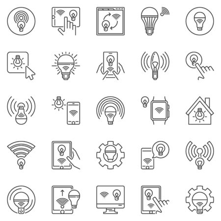Smart Light Bulb outline icons set. LED WiFi light bulbs concept vector symbols in thin line style