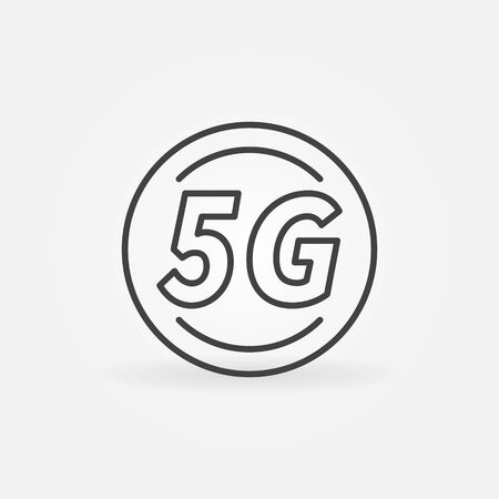 5G Circle vector outline icon. Fifth generation cellular network technology concept linear sign