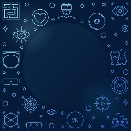 Virtual Reality blue outline frame - vector VR illustration