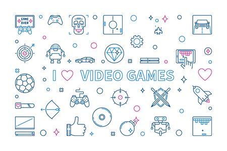 I Love Video Games outline banner. Vector concept illustration