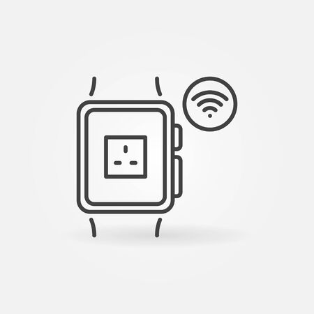 Smart Watch with UK smart socket App vector linear icon  イラスト・ベクター素材