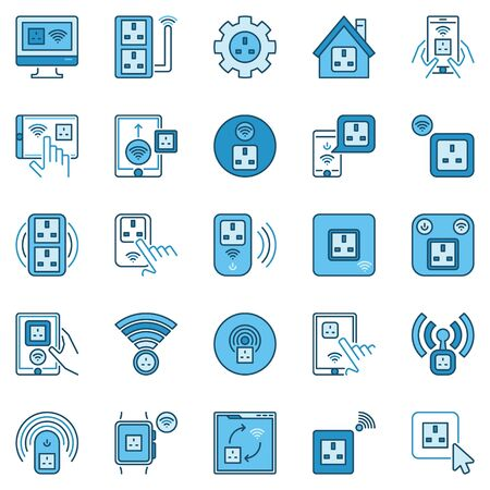 UK Smart Socket colored icons set - vector Smart Plug signs