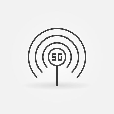 5G antenna concept vector icon in thin line style
