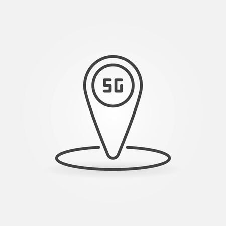 5G internet technology location mark outline vector icon