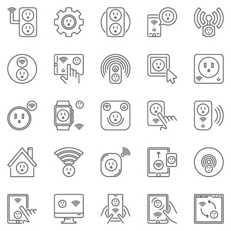 US Smart Socket outline icons. Vector smart sockets signs