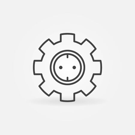 Gear with socket vector concept icon in thin line style