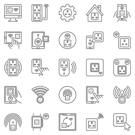 UK Smart Socket outline icons set - vector smartsockets signs
