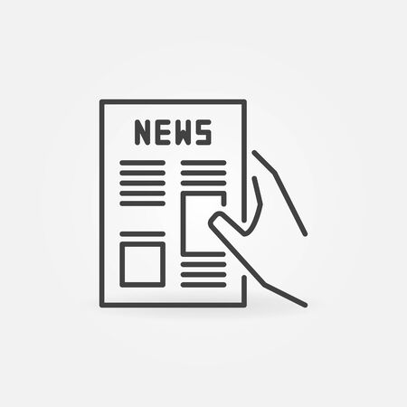 Newspaper in hand vector concept icon in outline style