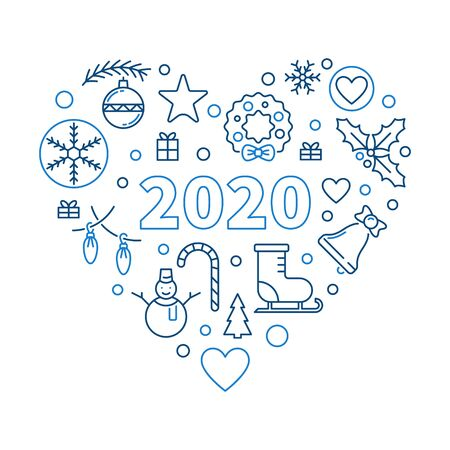 2020 Happy New Year Heart vector outline concept illustration 일러스트
